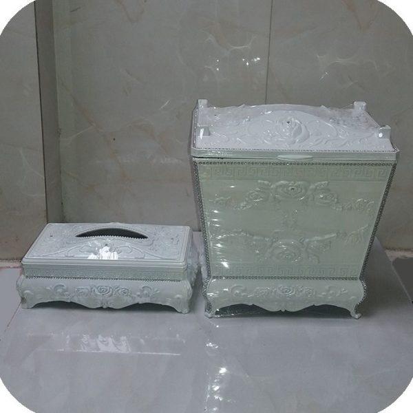 سطل و جادستمال کاغذی پلاستیکی سفید